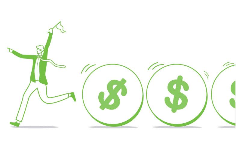cash flow green man running